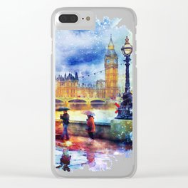 London Rain watercolor Clear iPhone Case
