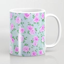 Pink Double Petunias over Blue Green Sm Coffee Mug