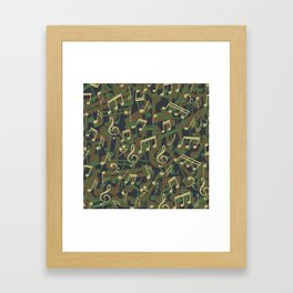 Music Note Camo WOODLAND Framed Art Print