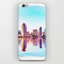 Watercolor of San Diego Skyline at dusk iPhone Skin