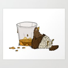 Thirsty Grouse - Colored with White Background Art Print