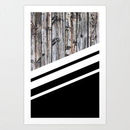 Rustic Wood Black Art Print