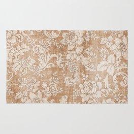 Vintage white brown grunge shabby floral Rug