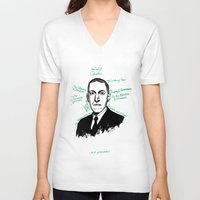 lovecraft V-neck T-shirts featuring H.P. Lovecraft by darkscrybe