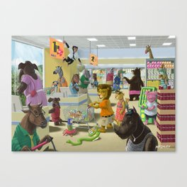 animals doing their shopping at a supermarket Canvas Print
