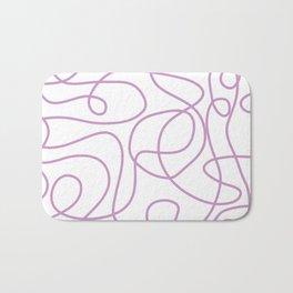 Doodle Line Art | Lavender Purple Lines on White Background Bath Mat