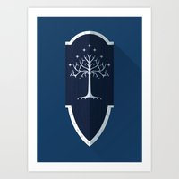 gondor Art Prints featuring Shield of Gondor by DWatson