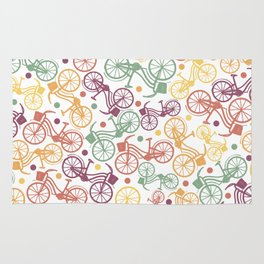 Whimsical bicycle pattern & retro polka dots Rug