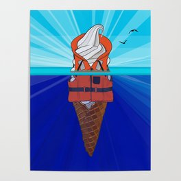 Ice Cream Float at Sea Poster