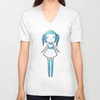polka dot V-neck T-shirts featuring Polka Dot by Freeminds