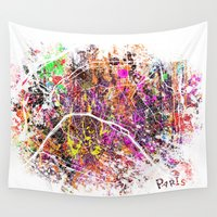 paris Wall Tapestries featuring Paris by Nicksman