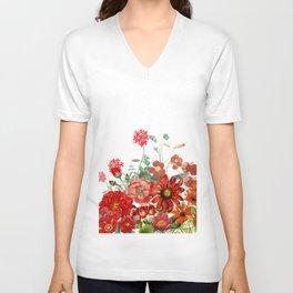 Vintage & Shabby Chic - Red Summer Flower Garden Unisex V-Neck