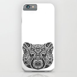 Black and White Ornamental Mama Bear Mandala iPhone Case