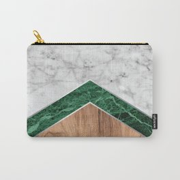 Arrows - White Marble, Green Granite & Wood #941 Carry-All Pouch