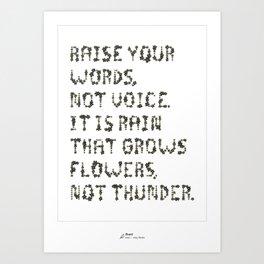 Rumi Inspirational Quote Art Print (Black) Art Print