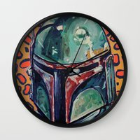 boba Wall Clocks featuring BOBA FETT by M. Ali Kahn