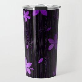 Colorful Art Deco Violet Flower Pattern Travel Mug