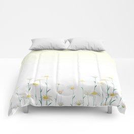 white daisy watercolor horizontal Comforters
