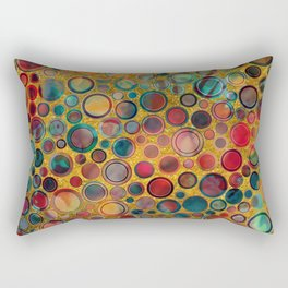 Dots on Painted and Gold Background Rectangular Pillow