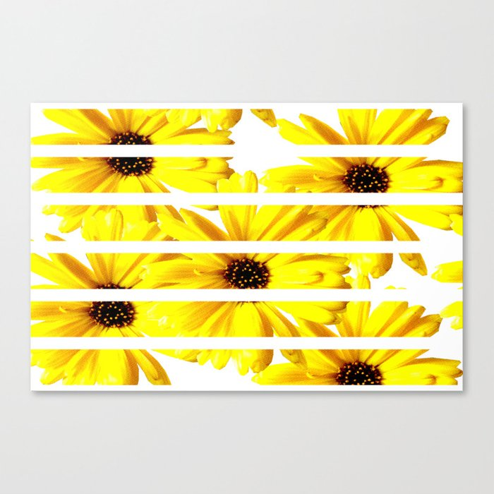 Yellow  Mellow Daisies with white stripes #decor #society6 Canvas Print