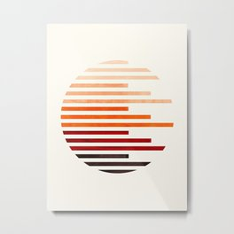 Mid Century Modern Minimalist Circle Round Photo Burnt Sienna Staggered Stripe Pattern Metal Print