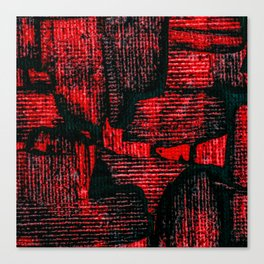 Red Painted Abstract Squares Canvas Print