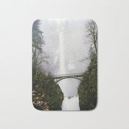 Multnomah Falls in Fog (Winter) Bath Mat