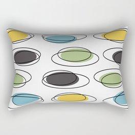 Mid Century Modern Ovals Scribbles Rectangular Pillow
