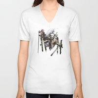 truck V-neck T-shirts featuring Monster Truck by Jonathan Sims
