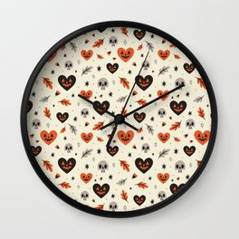 I Heart Fall Pattern Wall Clock