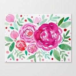 Watercolor roses bouquet - pink and green Canvas Print