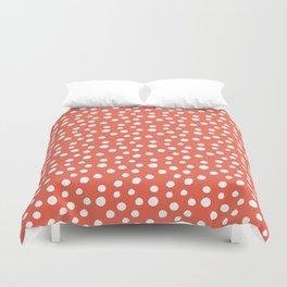 Living Coral & White Polka Dot Pattern Duvet Cover