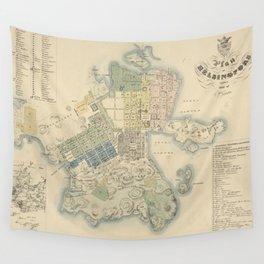 Vintage Map of Helsinki Finland (1837) Wall Tapestry