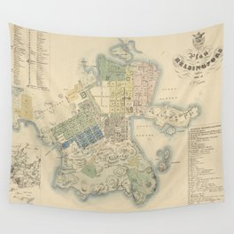 Vintage Map of Helsinki Finland (1837) Wall Tapestry