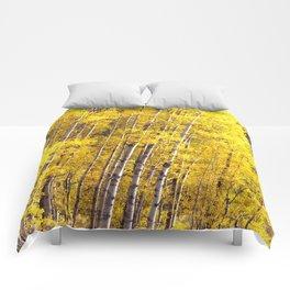 Yellow Grove of Aspens Comforters