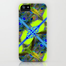 ART NOUVEAU FLYING GREEN PARROTPEACOCK FEATHER CHARTREUSE ART iPhone Case