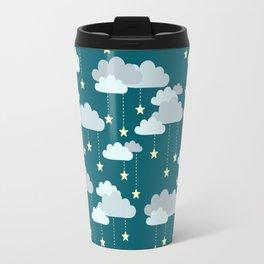 Clouds & Stars Night Sky Pattern Travel Mug