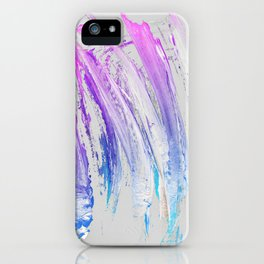 Lavender Magenta Brushstrokes on Light Gray Abstract iPhone Case