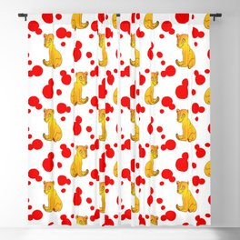 Cute little brown baby bear cubs, bold red retro dots white nursery pattern design. Baby bears. Blackout Curtain
