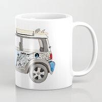 mini cooper Mugs featuring Magnificent Mini Cooper by Fuzzy Art