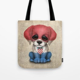 Cute Puppy Dog with flag of Croatia Tote Bag