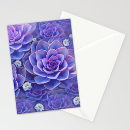 """Bouquet of pastel violet exotic succulents"" Stationery Cards"