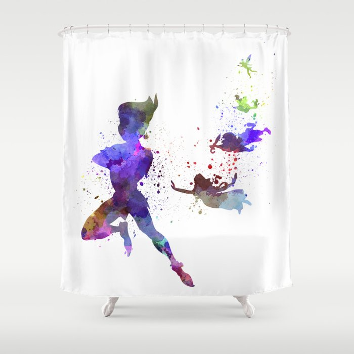 Peter Pan In Watercolor Shower Curtain By Paulrommer