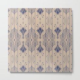 Lily Lake - Retro Floral Pattern Beige Indigo Blue Metal Print