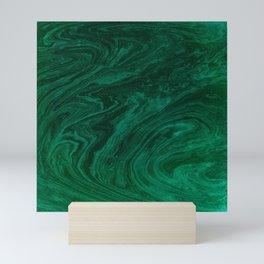 malachite green marbleized effect marble painting Mini Art Print