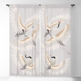 traditional Japanese cranes bright illustration Blackout Curtain