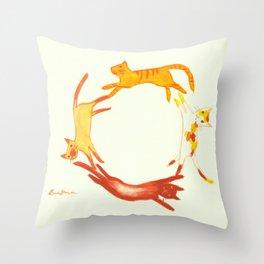 A Circle of Cats Throw Pillow