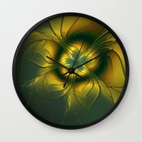 golden Wall Clocks featuring Golden by gabiw Art
