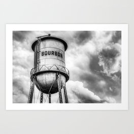 Bourbon Water Tower Whiskey Barrel With Clouds - Monochrome Edition Art Print