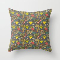 pasta Throw Pillows featuring Pasta by canigrin